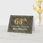 [ Thumbnail: Elegant 68th Birthday: Faux Wood, Faux Gold Look Card ]