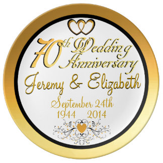 Elegant 70th Anniversary Porcelain Plate