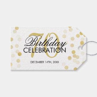 Elegant 70th Birthday Gold Foil Glitter Lights Gift Tags