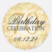 Elegant 70th Birthday Gold Winter Wonderland Classic Round Sticker