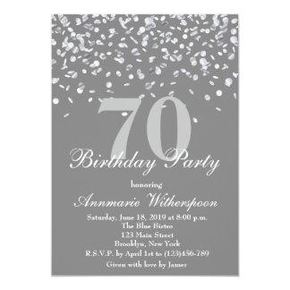 Elegant 70th Birthday Invitation Silver Confetti