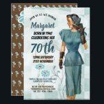 "Elegant 70th Birthday Invite RETRO 1940s Woman<br><div class=""desc"">1.Many items featured here can be used for a variety of occasions other than stated - simply edit the text as required. _______________________________________________________________________  2. If you require assistance,  matching items or would like a custom design contact Designer LeahG via the tab below. _______________________________________________________________________</div>"