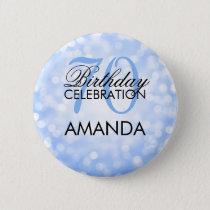 Elegant 70th Birthday Party Blue Glitter Lights Button