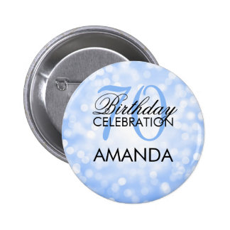 Elegant 70th Birthday Party Blue Glitter Lights Button