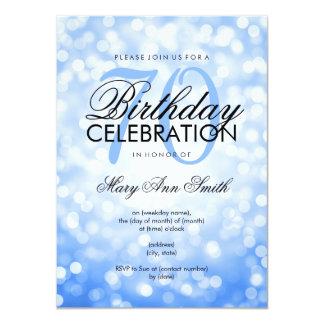 Elegant 70th Birthday Party Blue Glitter Lights Card