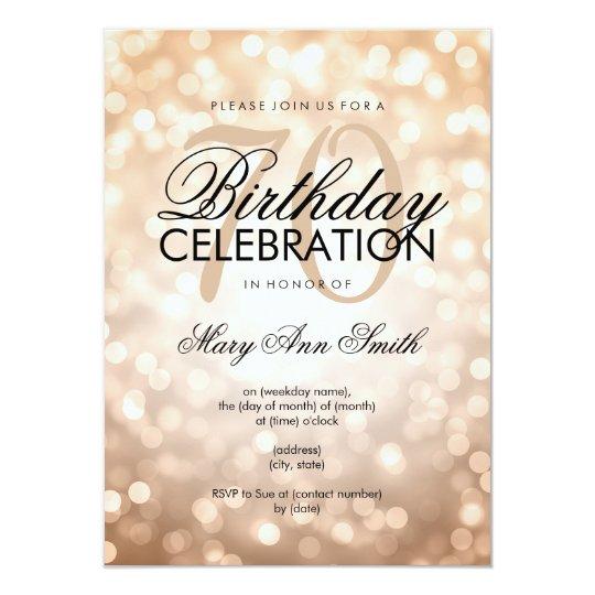 Elegant 70th birthday party copper glitter lights invitation elegant 70th birthday party copper glitter lights invitation filmwisefo
