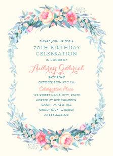 Elegant 70th birthday invitations zazzle elegant 70th birthday party floral watercolor invitation filmwisefo