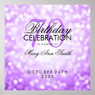 Elegant 70th Birthday Party Glitter Lights Purple Poster