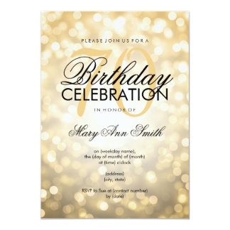 Elegant 70th Birthday Party Gold Glitter Lights Card