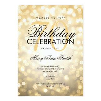 Elegant 70th Birthday Party Gold Glitter Lights Card
