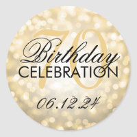 Elegant 70th Birthday Party Gold Glitter Lights Classic Round Sticker