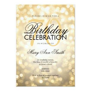 Elegant 70th Birthday Party Gold Glitter Lights Invitation