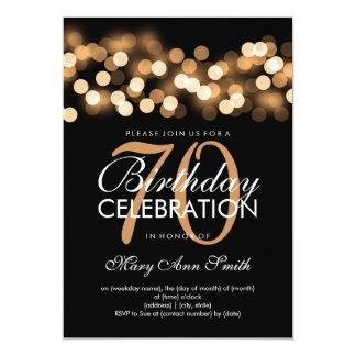 Elegant 70th Birthday Party Gold Hollywood Glam Card