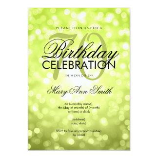 Elegant 70th Birthday Party Green Glitter Lights Card