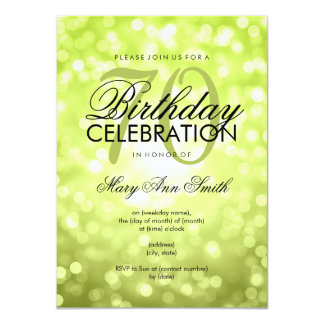 Elegant 70th Birthday Party Green Glitter Lights Card