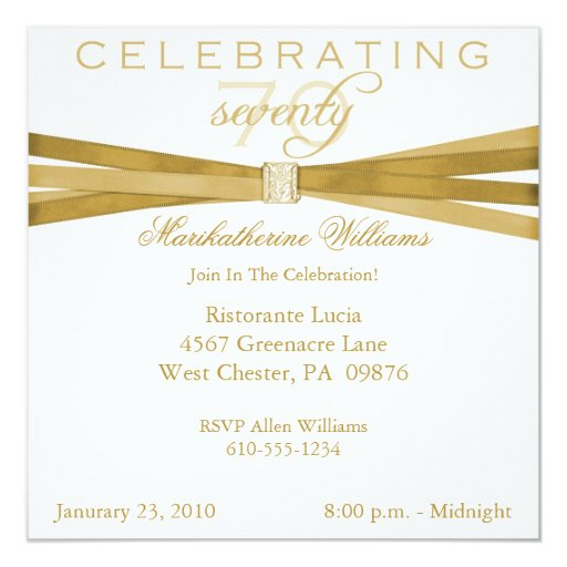 "Elegant 70th Birthday Party Invitations 5.25"" Square Invitation Card"