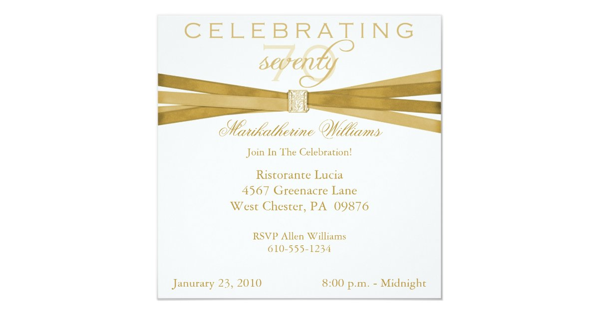 Elegant 70th Birthday Party Invitations | Zazzle.com
