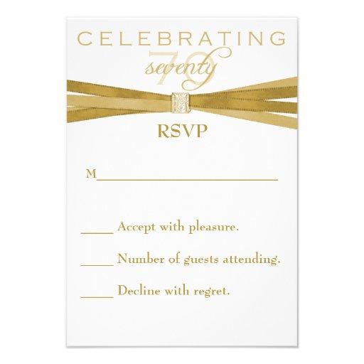 Elegant 70th Birthday Party Invitations RSVP Card