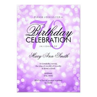 Elegant 70th Birthday Party Purple Glitter Lights Card