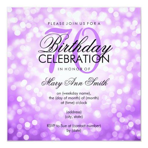 elegant 70th birthday party purple glitter lights