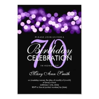Elegant 70th Birthday Party Purple Hollywood Glam Card