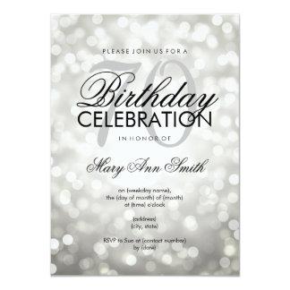 Elegant 70th Birthday Party Silver Glitter Lights Card
