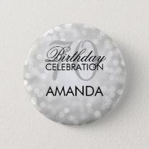 Elegant 70th Birthday Party Silver Glitter Lights Pinback Button