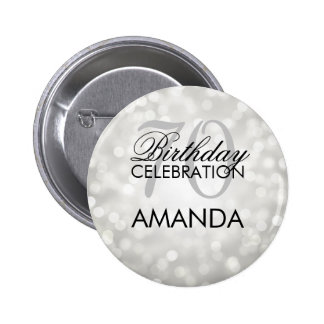 Elegant 70th Birthday Party Silver Glitter Lights Pinback Button