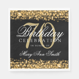 Elegant 70th Birthday Party Sparkles Gold Napkin