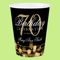 Elegant 70th Birthday Party Sparkles Gold Paper Cup