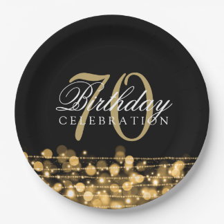 Elegant 70th Birthday Party Sparkles Gold Paper Plate