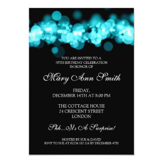 Elegant 70th Birthday Party Turquoise Bokeh Lights 5x7 Paper Invitation Card