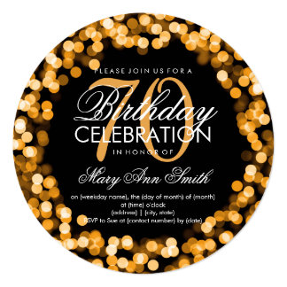 Elegant 70th Birthday Sparkling Lights Gold Card