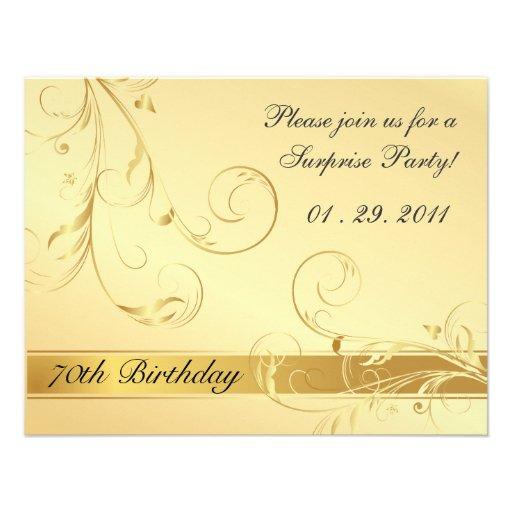 Elegant 70th Birthday Surprise Party Invitations (back side)