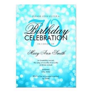 Elegant 70th Birthday Turquoise Glitter Lights Card