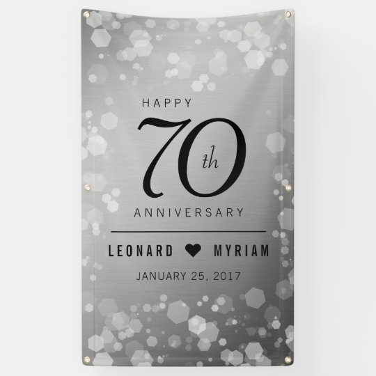 70 Year Wedding Anniversary Gifts: Elegant 70th Platinum Wedding Anniversary Banner