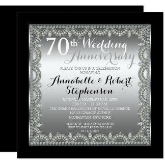 Elegant 70th Silver and Diamonds Anniversary Invitation