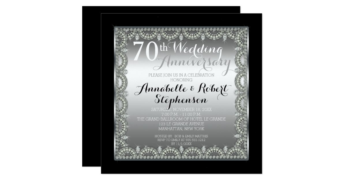 70 Year Wedding Anniversary Gifts: Elegant 70th Silver And Diamonds Anniversary Invitation