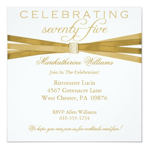 Celebrate 75 Years Personalized Birthday Invitation Elegant 75th Party Invitations