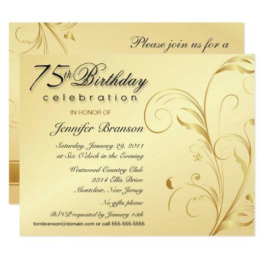 Elegant 75th Birthday Surprise Party Invitations Zazzle Com