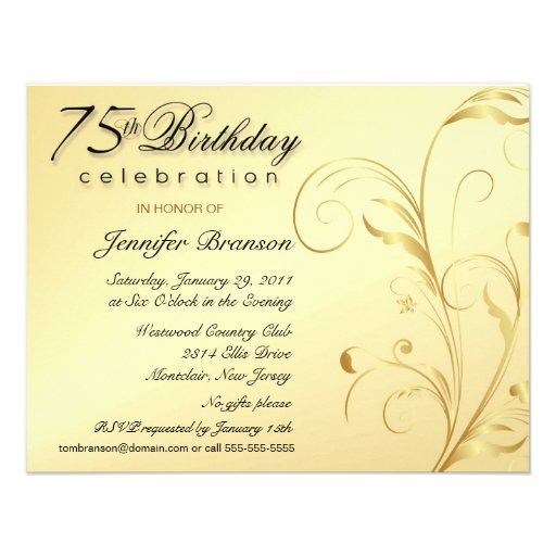 Elegant 75th Birthday Surprise Party Invitations 425 X 55 Invitation Card
