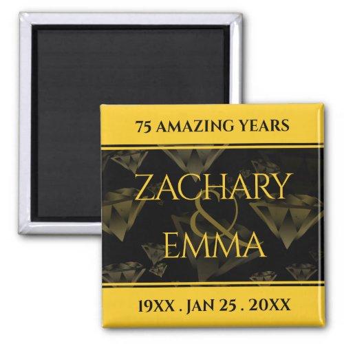Elegant 75th Diamond and Gold Wedding Anniversary Magnet