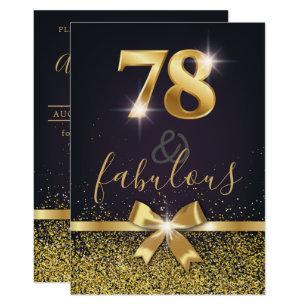Elegant 78 Fabulous Gold Glitter 78th Birthday Invitation