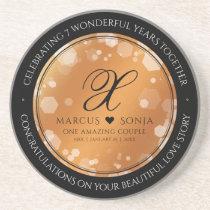 Elegant 7th / 22nd Copper Wedding Anniversary Coaster