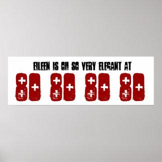 Elegant 80 Sixty Birthday Party Banner Custom Name Poster