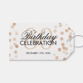 Elegant 80th Birthday Copper Foil Glitter Lights Gift Tags