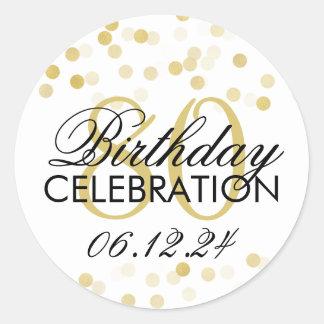 Elegant 80th Birthday Gold Foil Glitter Lights Classic Round Sticker