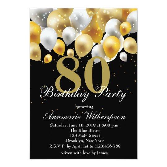 Elegant 80th Birthday Invitation Gold Balloons