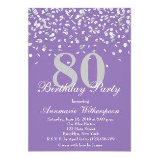 Elegant 80th Birthday Invitation Silver Confetti