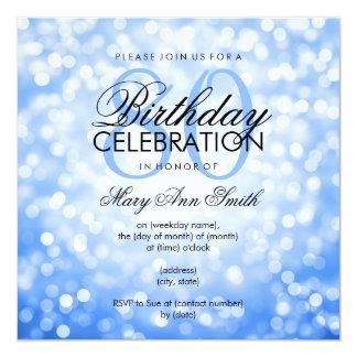 Elegant 80th Birthday Party Blue Glitter Lights Card